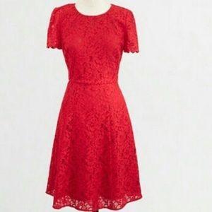 Red, lace Jcrew dress